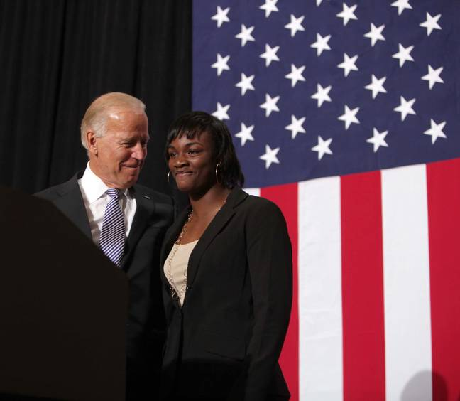 Claressa Shields with Joe Biden after winning gold at the Olympics. Credit: PA