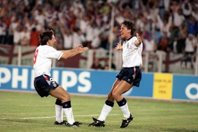 Lineker celebrates his goal. Image: PA Images