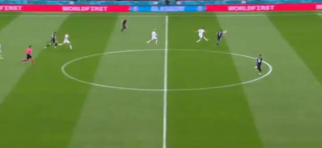 Glesnes' goal was from deep but Schick's was from deeper. Image: BBC Sport
