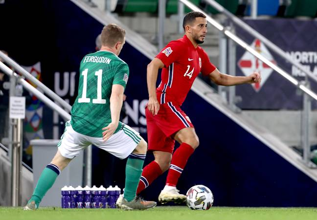 Omar Elabdellaoui in action for Norway. (Image Credit: PA)