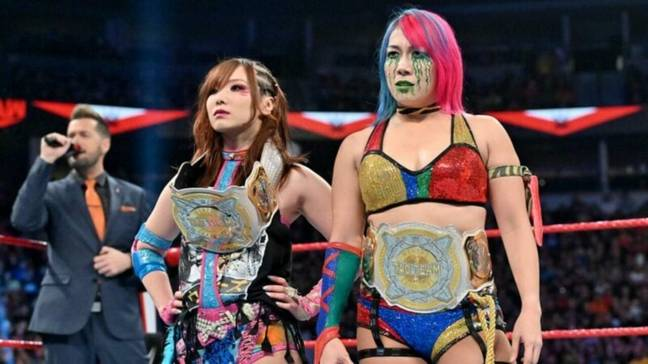 Asuka and Sane make up The Kabuki Warriors and are former WWE Women's Tag Team Champions. (Image Credit: WWE)