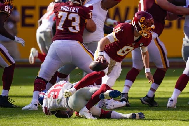 Allen's foot got caught under Peppers' wayward body. Credit: PA