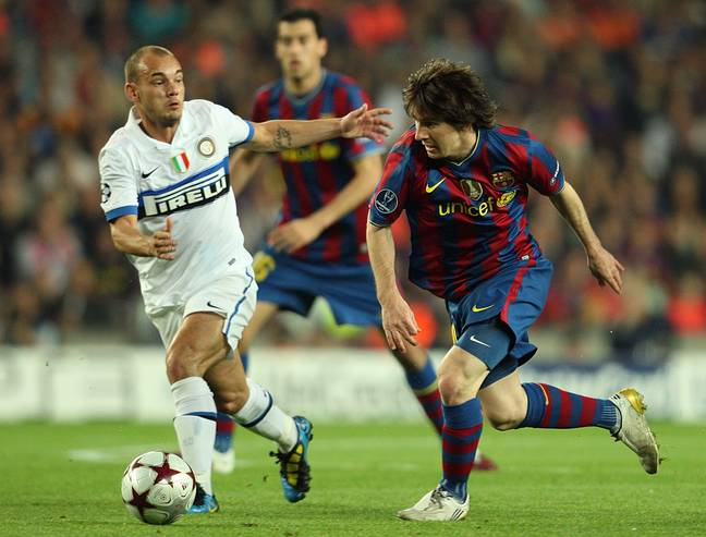 Sneijder faced Messi in the Champions League semi-final in 2010. Image: PA Images