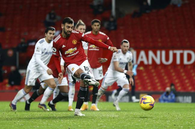 Bruno Fernandes scores a penalty against Leeds United but it wouldn't have changed the result. Image: PA Images