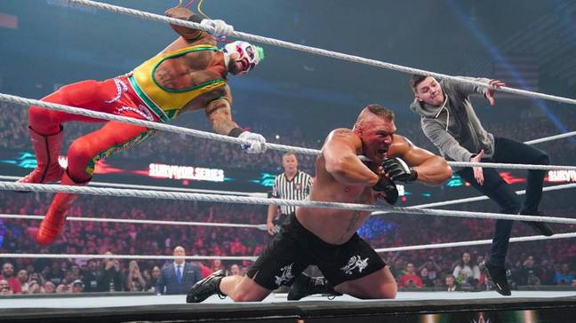 Lesnar takes a double 619 from Dominik and Rey Mysterio. Image: WWE