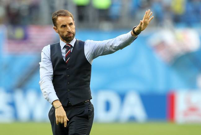 Southgate waves goodbye to the traveling England support. Image: PA