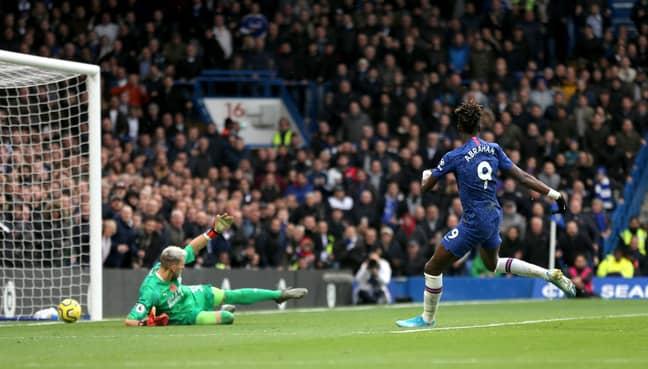 Abraham scores his 10th Premier League goal of the season. Image: PA Images