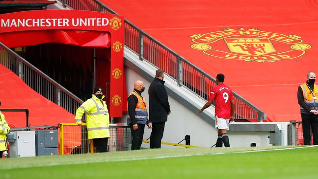 Martial walks down the tunnel after being sent off. Image: PA Images