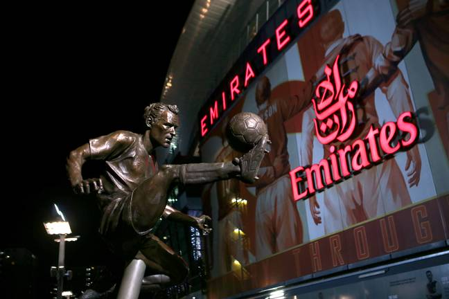 Bergkamp's first touch is immortalised outside Arsenal's ground. Image: PA Images