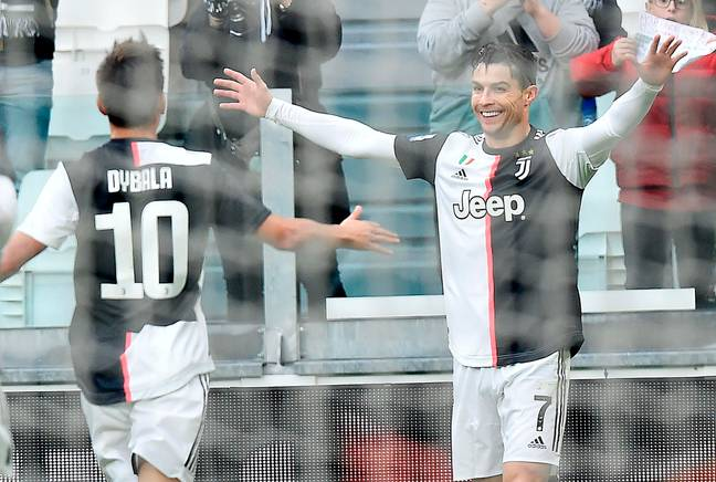 Ronaldo celebrates scoring for Juve. Image: PA Images