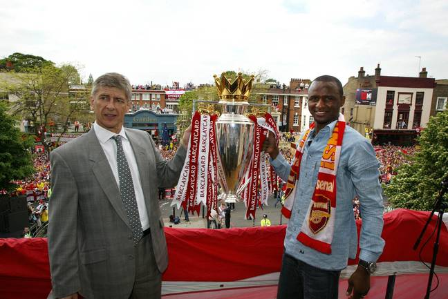 PA: Arsene Wenger lifts the Premier League trophy with Patrick Vieira.