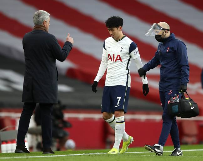 Son limps off injured. Image: PA Images