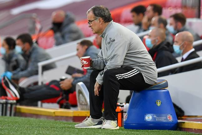 Bielsa sitting on his bucket at Anfield. Image: PA Images