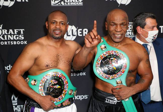 Roy Jones Jr and Mike Tyson after their bout. Credit: PA