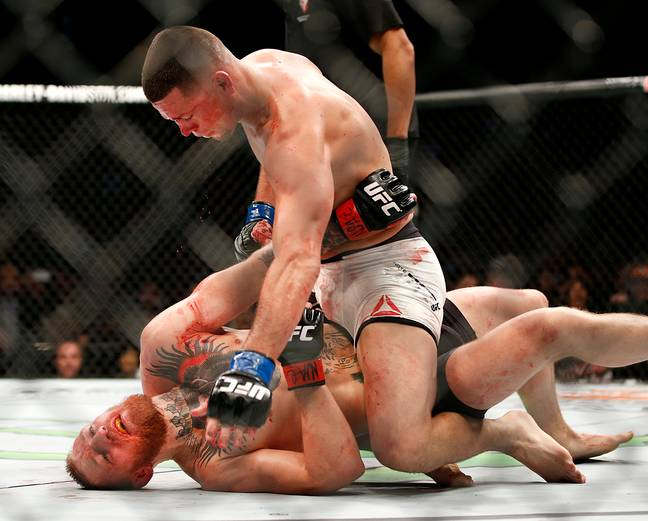 Diaz on top of McGregor in their first fight. Image: PA Images