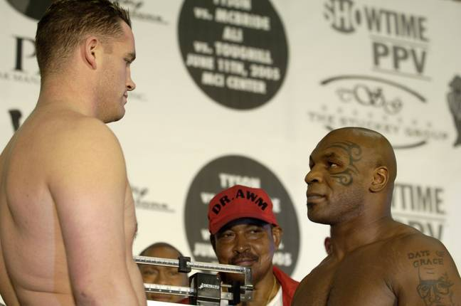 McBride and Tyson at the weight in. Image: PA Images