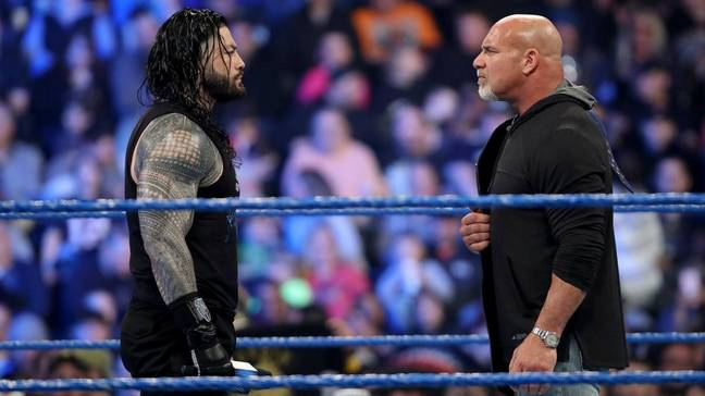 Reigns was set to face Goldberg for the Universal Championship at WrestleMania in April. (Image Credit: WWE)