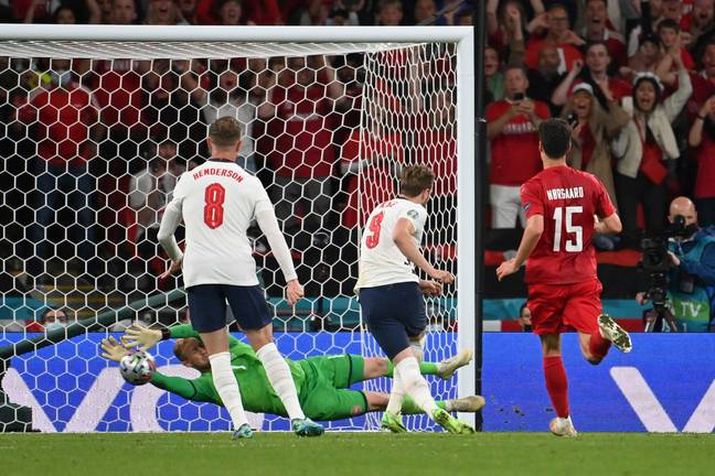 Schmeichel still nearly saved the rebound as well. Image: PA Images