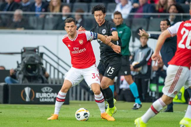 Xhaka as Arsenal captain in the Europa League (Image Credit: PA)