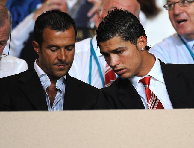 Jorge Mendes showing a young Cristiano Ronaldo how much money he'll make him. Image: PA Images