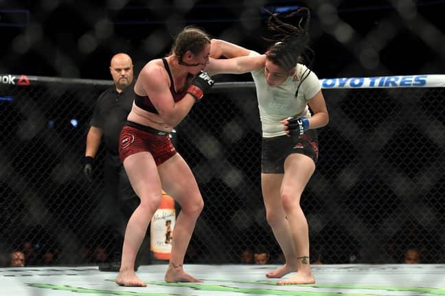 McCann fighting against Diana Belbita. Image: PA Images