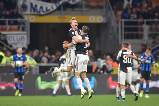 De Ligt celebrates the Derby d'Italia win over Inter, relieved for Gonzalo Higuain's winner after his earlier error. Image: PA Images