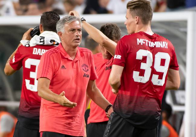 Mourinho & McTominay during pre-season in 2018. (Image Credit: PA)