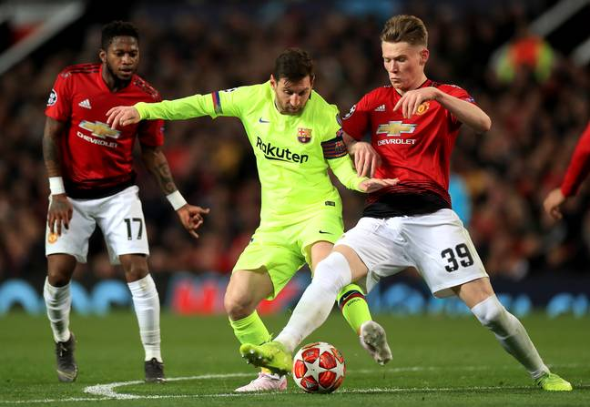 McTominay had his hands full that night against Messi. Image: PA Images