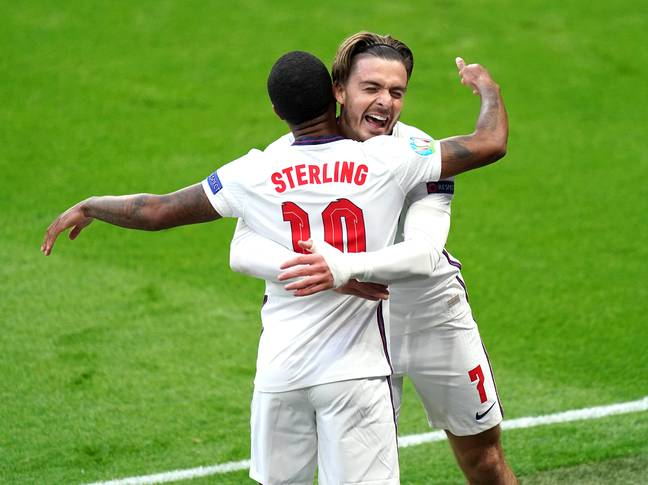 Grealish celebrating with potential new teammate Raheem Sterling. Image: PA Images