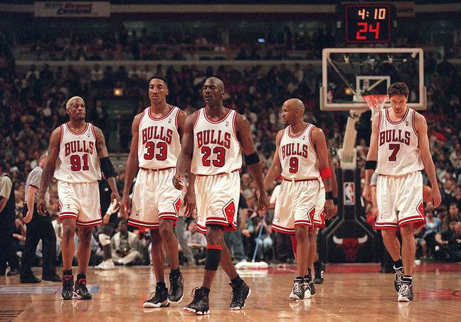 Jordan, centre, and Pippen, second left, were almost unstoppable together. Image: PA Images