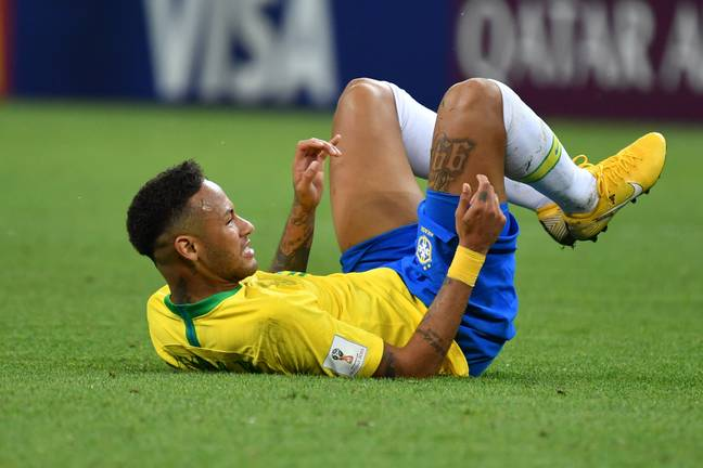 Imagine everyone's surprise at Neymar being on the floor. Image: PA Images