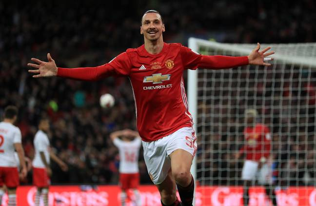 Ibrahimovic's first season saw him score a brace in the EFL Cup final. Image: PA Images