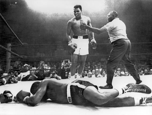 Ali knocks out Sonny Liston in 1965. Credit: PA
