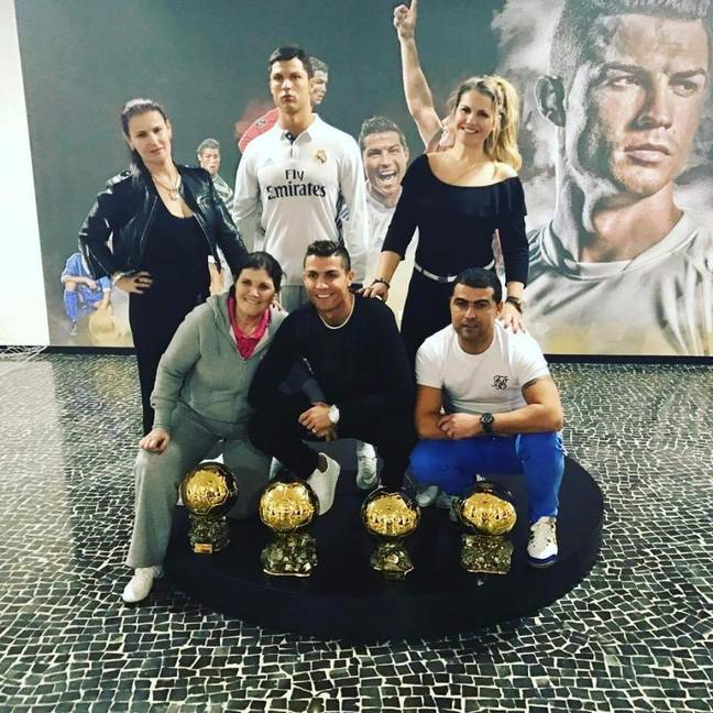 Ronaldo with four of his Ballon d'Or trophies. Image: @katiaaveiroofficial