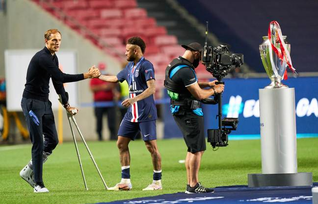 Tuchel with Neymar after they failed to beat Bayern Munich. Image: PA Images