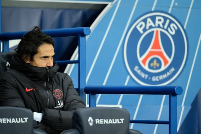 Cavani has spent plenty of time on the bench this season. Image: PA Images