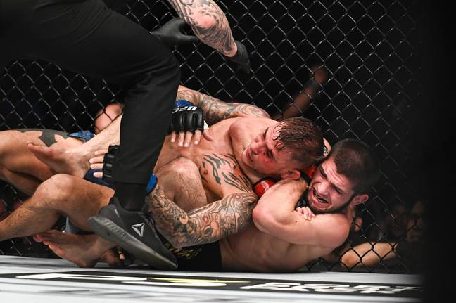 Poirier being tapped out by Khabib. Image: PA Images