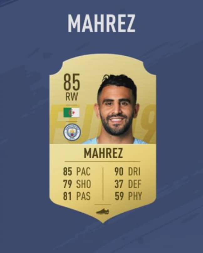Mahrez's FIFA 19 card. Image: EA Sports