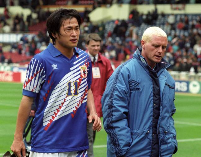 Japan's Kazuyoshi Miura pictured with English icon Paul Gascoigne in 1995. Credit: PA