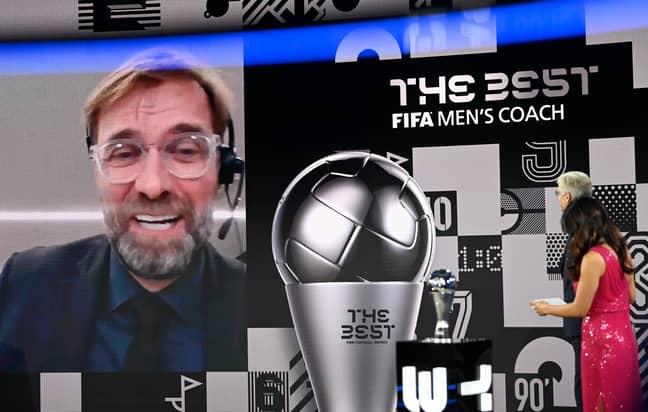 Mourinho picking up his award. Image: PA Images