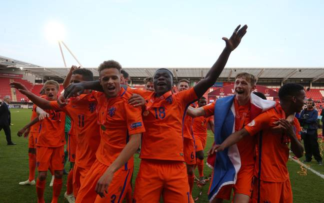 Brobbey celebrates winning the Under 17 Euros. Image: PA Images