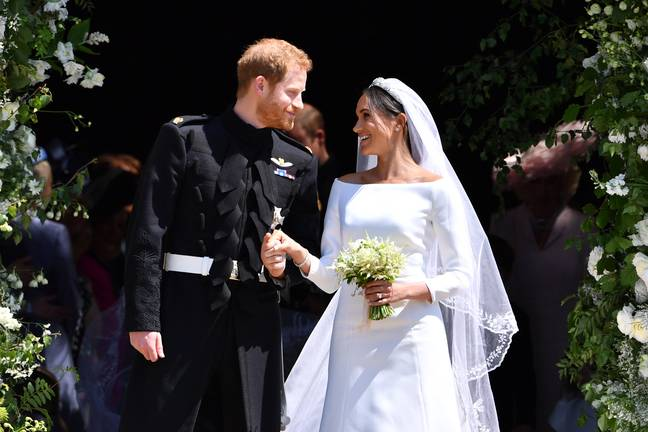 Prince Harry and Meghan Markle on their wedding day. Credit: PA