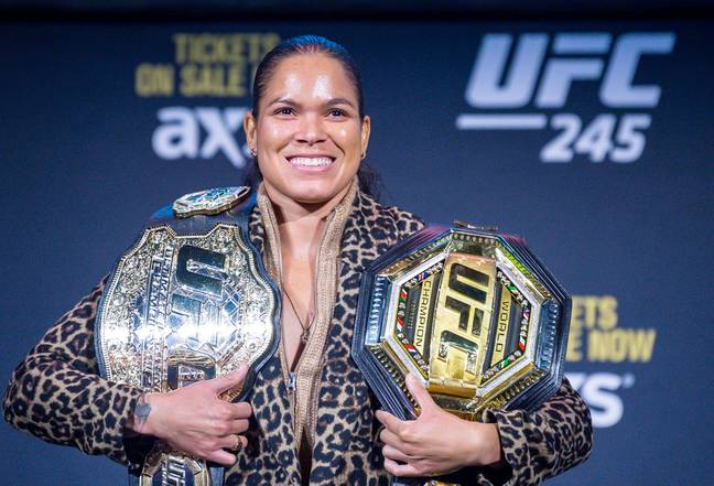 Nunes with her two belts. Image: PA Images