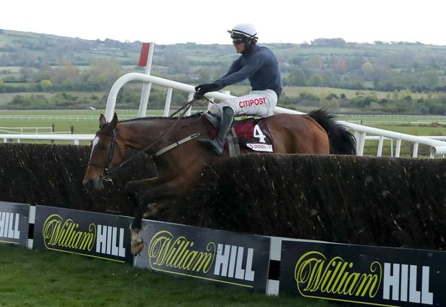 Colreevy and Danny Mullins coming home to win the Dooley Insurance Group Champion Novice Chase during day one of the Punchestown Festival