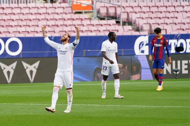 Ramos celebrates at the Nou Camp. Image: PA Images
