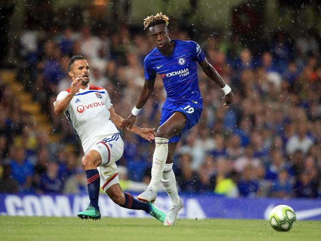 Tammy Abraham playing against Lyon. Image: PA Images