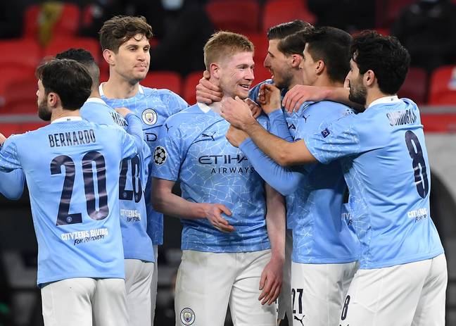 City celebrate against Monchengladbach. Image: PA Images