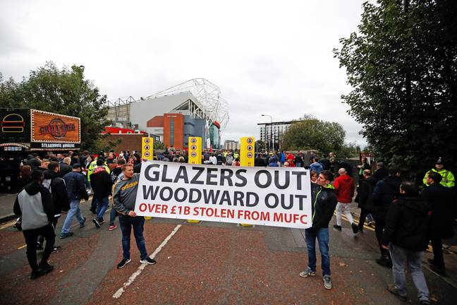 Fans protest the Glazers earlier this season. Image: PA Images