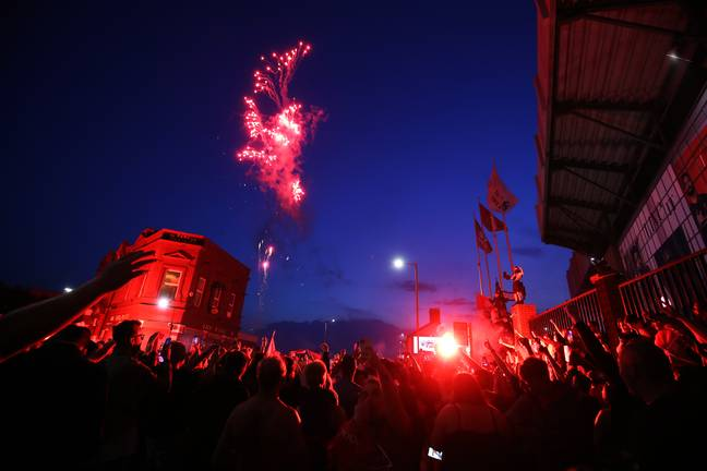 Liverpool fans celebrate their title win on Thursday night. Image: PA Images