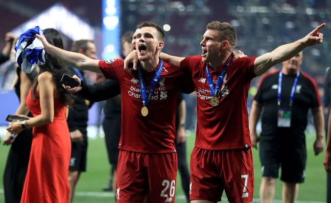 James Milner and Andy Robertson celebrate Liverpool's Champions League win